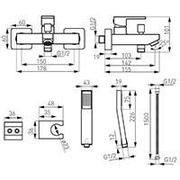 Смеситель для ванны и душа Ferro Zicco BZI11