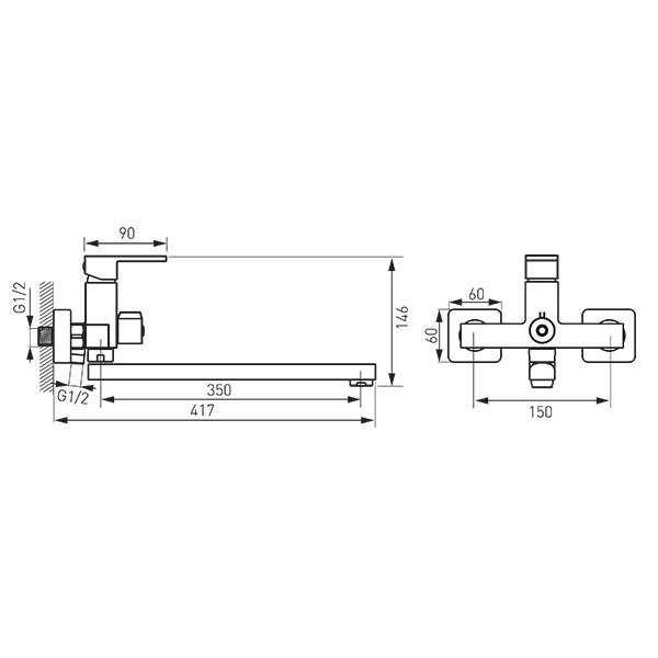 Смеситель для умывальника и ванны Ferro Zicco BZI55A