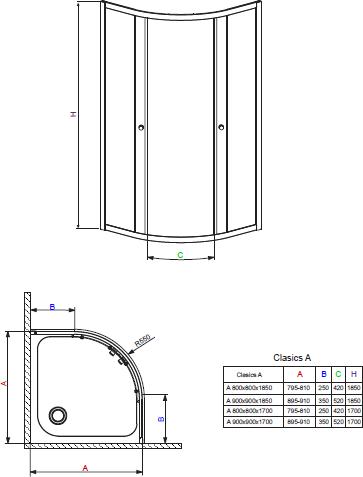 Душевой уголок Radaway Classic A 1700 80x80x170 прозрачное/хром