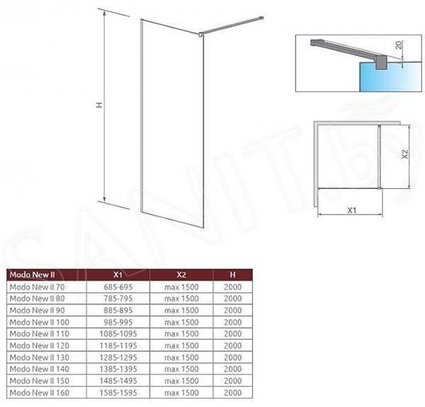 Душевая стенка Radaway Modo II New 120x200