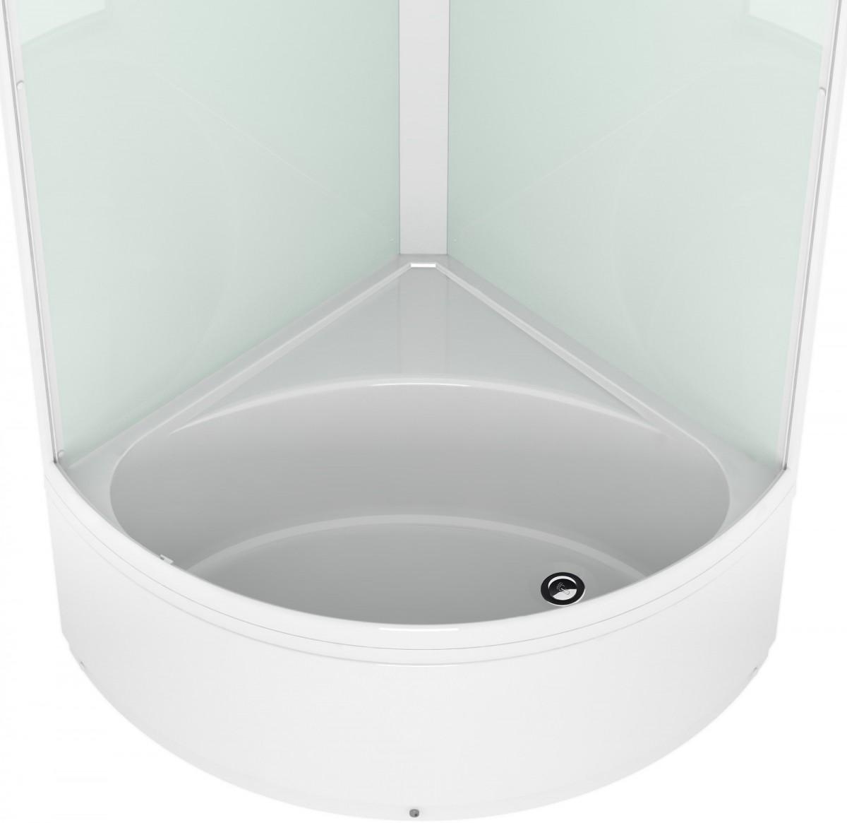 Душевая кабина Domani-Spa Simple high 90x90 сатин стекло / белые стенки с крышей
