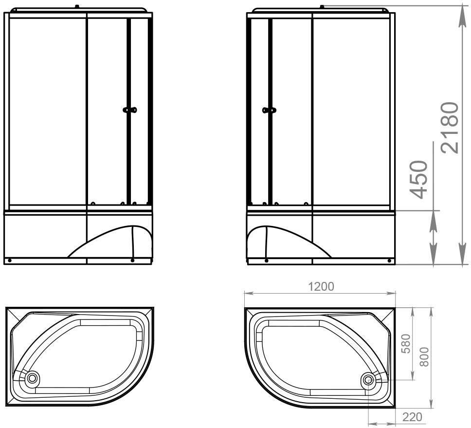 Душевая кабина Domani-Spa Delight 128 High R 120x80