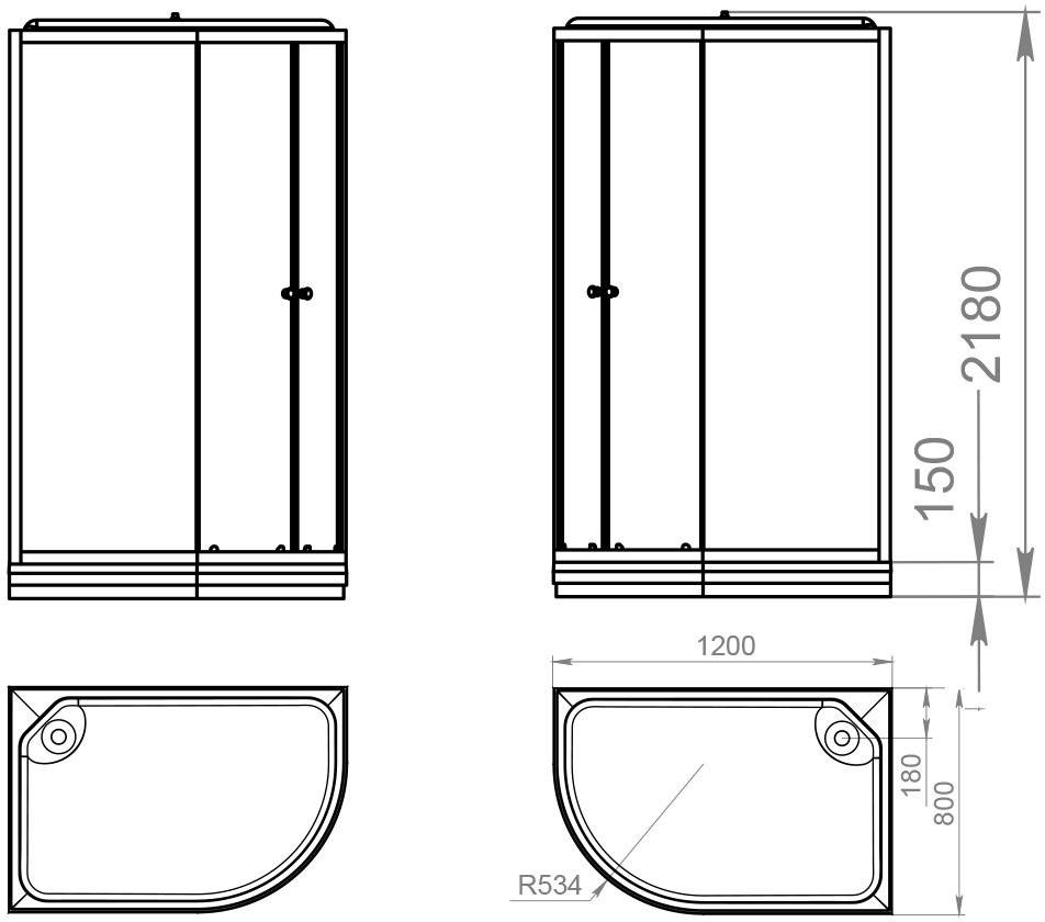 Душевая кабина Domani-Spa Delight 128 R 120x80 черная тонированная н/п