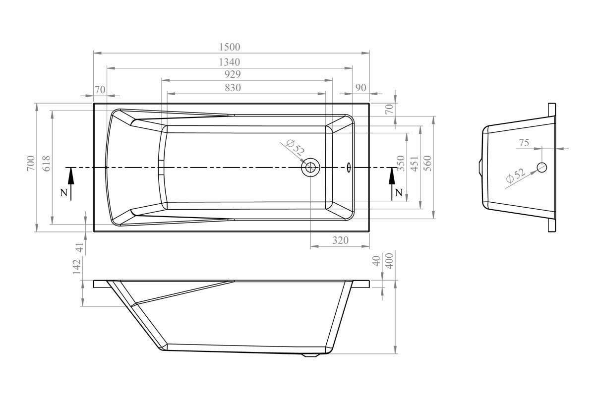 Акриловая ванна Lavinia Boho One 150x70 37010050