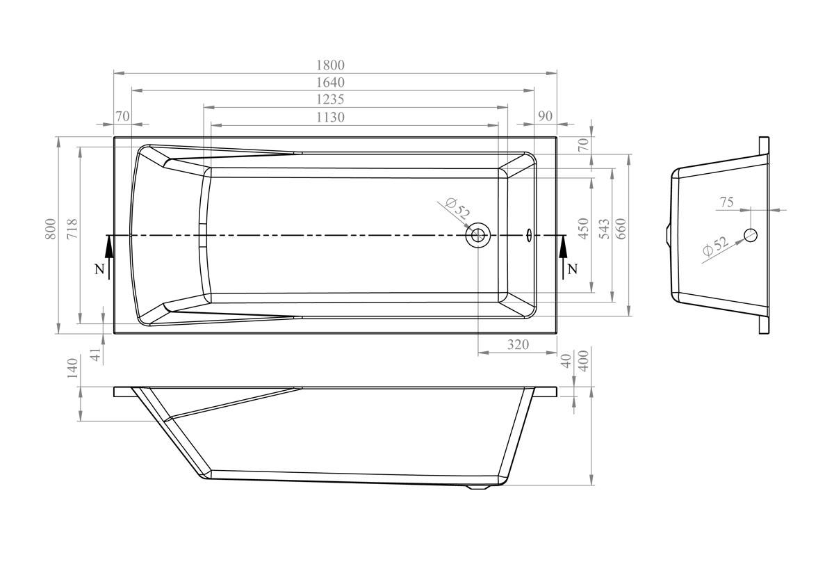 Акриловая ванна Lavinia Boho One 180x80 37010080
