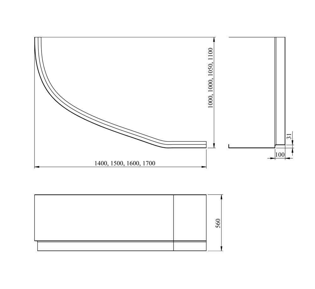 Акриловая ванна Lavinia Boho Bell Pro 170 L 170x110 3702170R