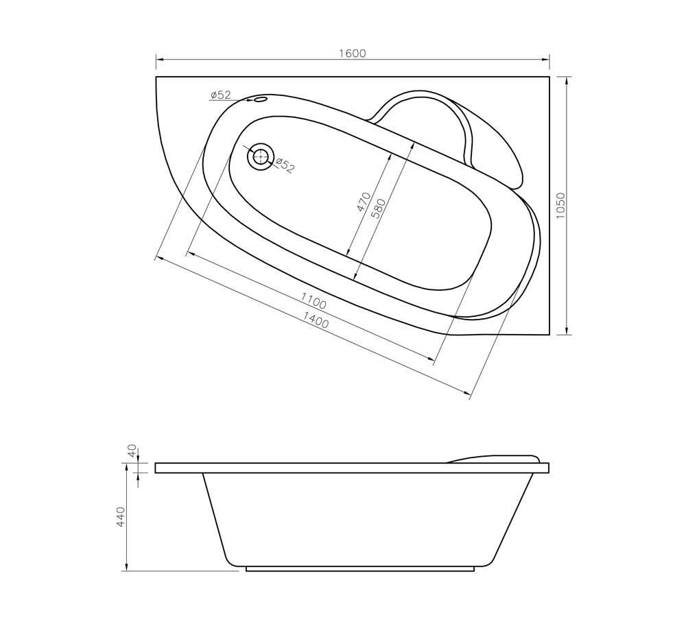 Акриловая ванна Lavinia Boho Bell Pro 160 R 160x105 370216PR