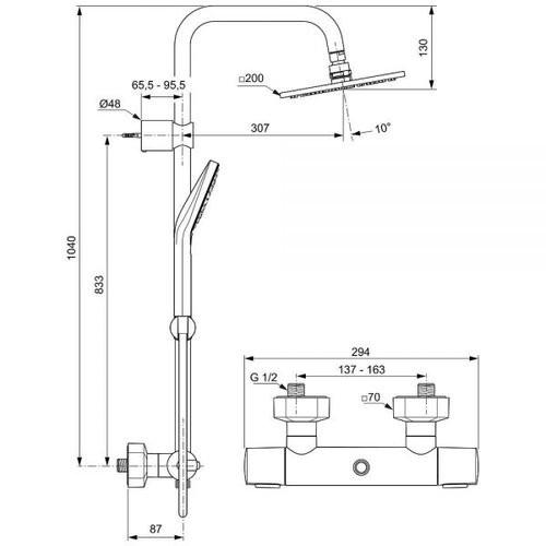 Душевая стойка с термостатическим смесителем Ideal Standard Idealrain Luxe Cube Evo