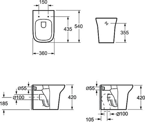Унитаз приставной Grossman Classic GR-PR3012 54x36 SoftClose