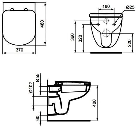 Унитаз подвесной Ideal Standard Tempo T328801 48х37