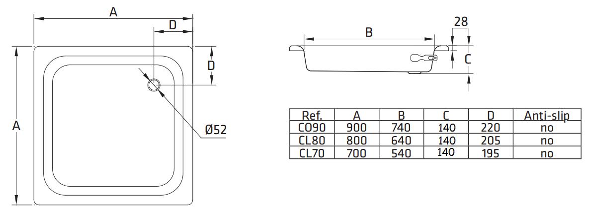 Стальной душевой поддон BLB CO90 90x90