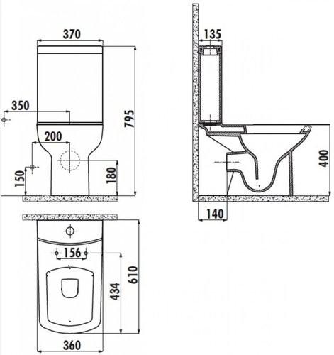 Чаша напольного унитаза Creavit Lara P-Trap 61x36
