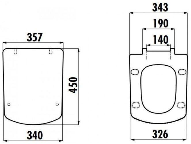 Чаша напольного унитаза Creavit Lara 63,8x35 с форсункой для биде