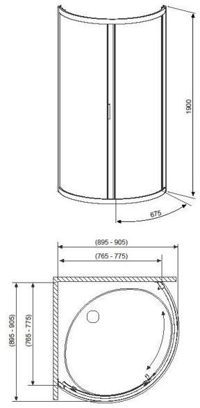 Душевой уголок Radaway Premium A 90x90x190 стекло матовое