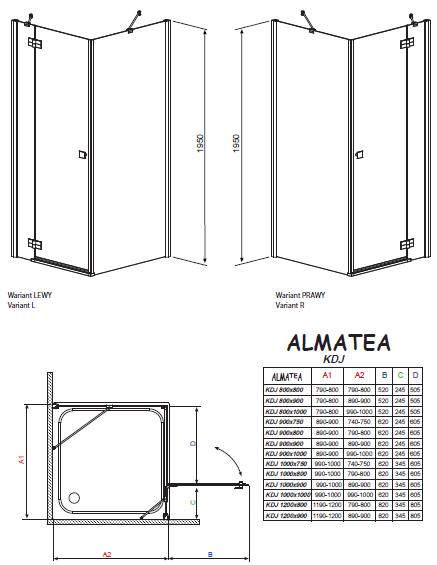 Душевой уголок Radaway Almatea KDJ 90x90 левый