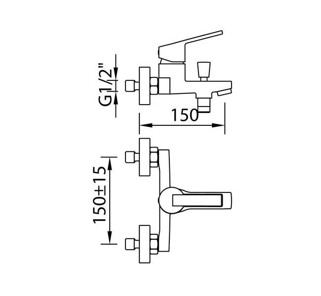 Смеситель для ванны и душа Clever S12 Xtreme